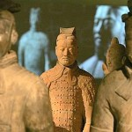 Terracotta warrior figures stand on display at the British Museum in London